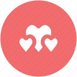 family, friends, happiness, love, love hearts, passion, three hearts icon