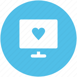 broadcasting, heart sign, love, love message, love via internet, monitor, valentines day icon