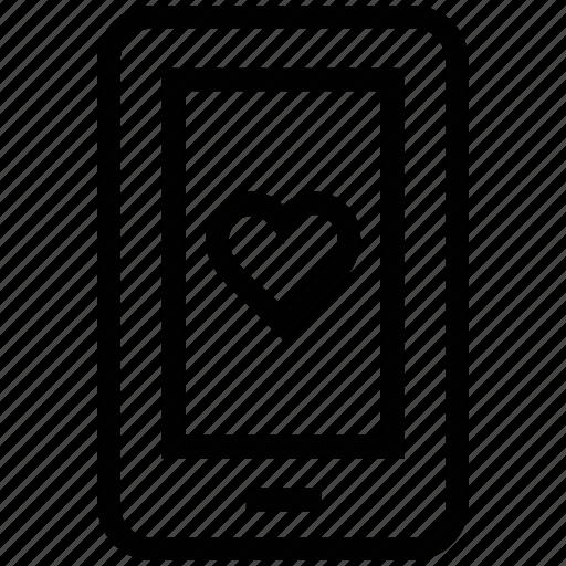 love sign, love symbol, mobile screen, romance, screen heart icon