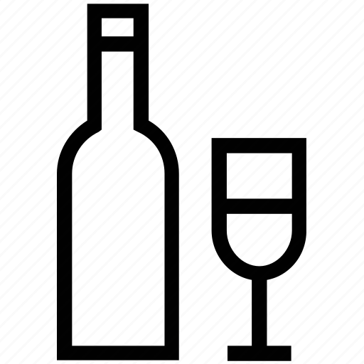 alcohol, alcoholic drink, beverage, bottle, drink, glass, wine and glass icon