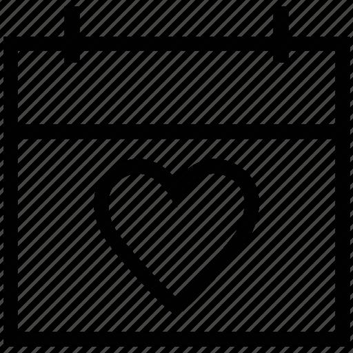 calendar, love day, romance, valentine day icon