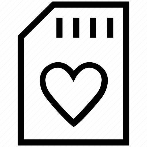 heart, heart memory, heart shape, memory, memory card, sim card icon
