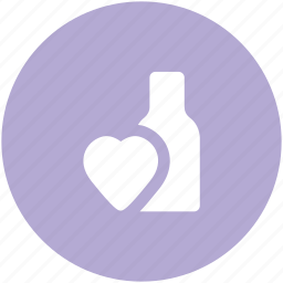 anniversary, arrangement, beverage, bottle, celebrate, drink, heart sign, new year, wine bottle icon