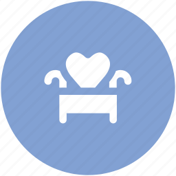 chair, couch, decorating, furniture, heart shape, love theme, sofa icon