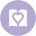 heart sign, love, love inspirations, memo, memories, opened diary, romantic feelings icon