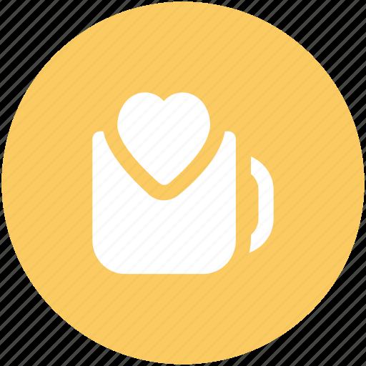 beverage, coffee mug, drink, friendship, heart symbol, love, valentine day icon