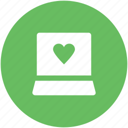 heart sign, imagination, laptop, love, love inspiration, love via internet, valentine day icon
