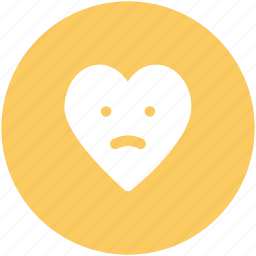 cartoon, emotions, heart face, sad, sad heart, sadness, unhappy heart icon