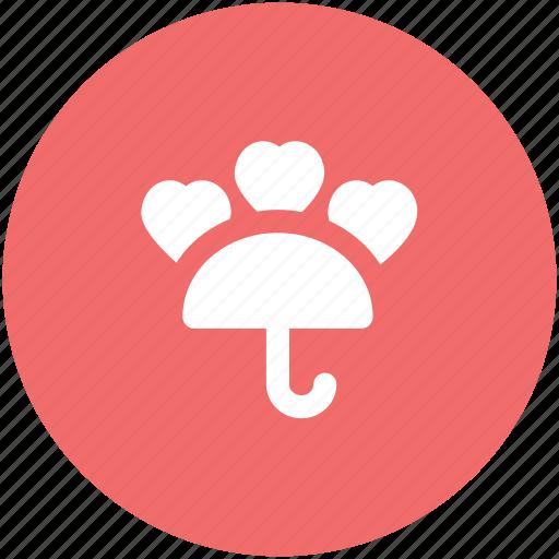 happiness, honeymoon, love, rain hearts, umbrella, valentine day, wedding day icon