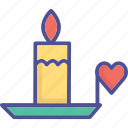 burning candle with heart, burning candle, candle, candlelight icon