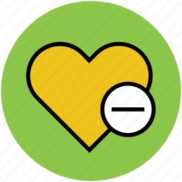 heart, love and romance, minus sign, remove, romance icon