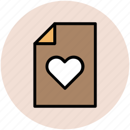 document, file, heart file, love letter, loving, romance, romantic novel icon