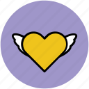feeling, heart, heart bird, heart fins, heart shape, like, love in air icon