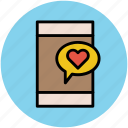 heart on screen, love message, love sign, love symbol, mobile screen, romance chat icon