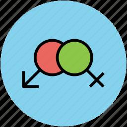 couple, female sign, gender, gender signs, gender symbols, sex symbols icon