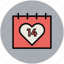 calendar, fourteen february, love day, romance day, valentine calendar, valentine day icon