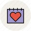 calendar, heart calendar, love, love and romance, romance icon