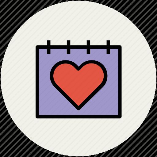 calendar, heart calendar, love, love and romance, romance icon
