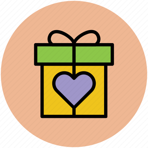gift box, heart gift, heart shaped, love presents icon