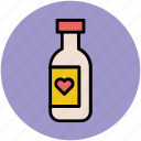 alcohol, alcoholic beverage, beverage, bottle, bottle with heart, champagne bottle, drink icon