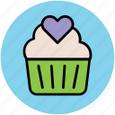 cupcake, cupcake with heart, dessert, heart muffin, muffin icon