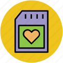 heart card, heart sim, memory card, sd card, sim card icon