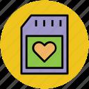 heart card, heart sim, memory card, sd card, sim card icon