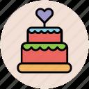 cake, cake with heart, dessert, party cake, wedding cake icon
