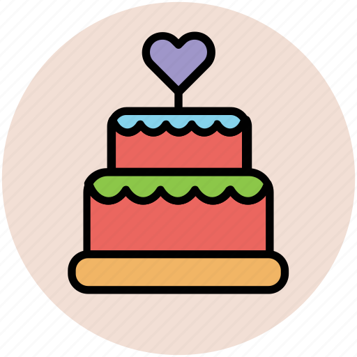 cake, cake with heart, dessert, party cake, wedding cake icon