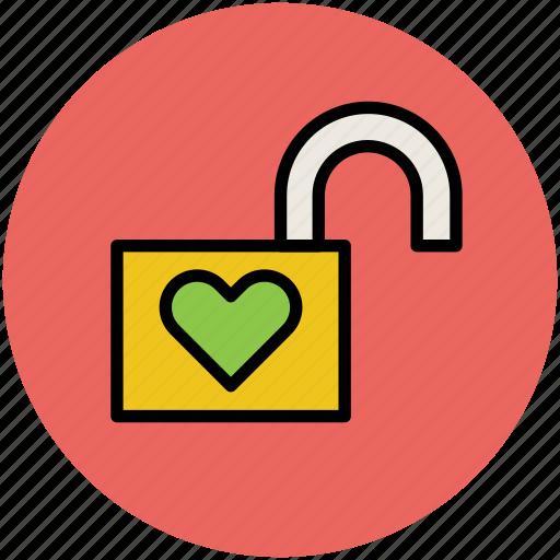 heart, heart unlock, love, padlock, romance, unlock icon