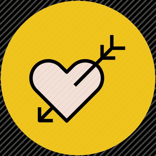 arrow on heart, falling in love, heart pierced, heartbreak, lovely icon