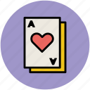 gambling, heart card, playing card, poker card, poker heart icon