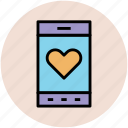 heart on screen, love message, love sign, love symbol, mobile screen, screen heart icon