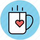 cup, heart, heart teabag, love, tea, tea mug icon