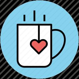 cup, heart, heart teabag, love, tea, tea mug icon