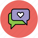 chat bubbles, love chat, love speech bubbles, lovers chat, online love icon