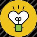 brightness, heart brightness, heart bulb, love, valentine icon