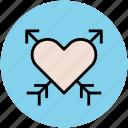 arrows on heart, broken heart, heartbreak, lovely icon