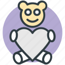 heart sign, love teddy, teddy, teddy bear, toy teddy icon