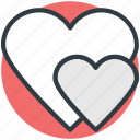 affection, love, love hearts, lovers, two hearts icon