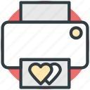 celebrations, fax machine, heart sign, printer, valentine day icon