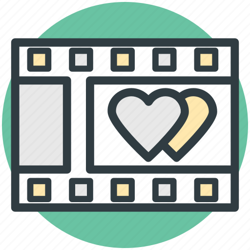 film reel, film strip, hearts sign, romantic film, romantic movie icon