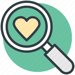 dating concept, find partner, heart, love symbol, magnifier, marriage proposal icon