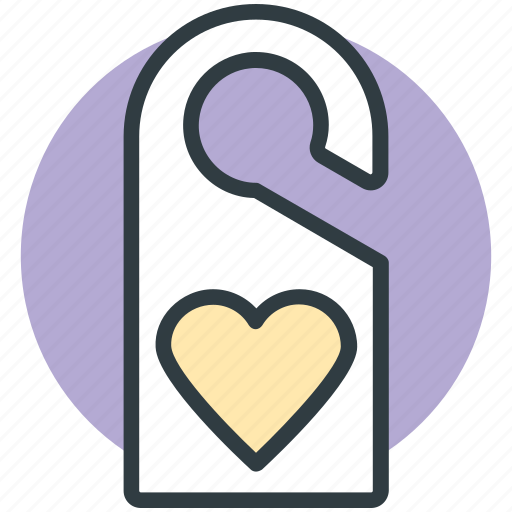 do not disturb, door tag, doorknob, heart sign, privacy symbol icon
