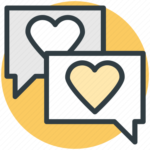 compassion, heart sign, lover's chat, romantic conversation, speech bubble icon