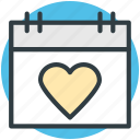 14 february, dating, heart calendar, love inspiration, valentine day icon