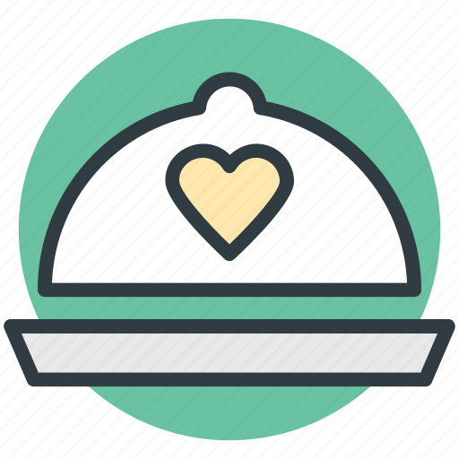 cloche, cuisine, dining, dishware, heart sign icon