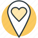 favorite location, heart, map pin, romance, sentiments icon