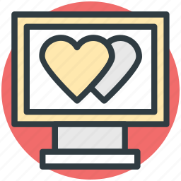 hearts sign, love via internet, media, monitor, valentines day icon