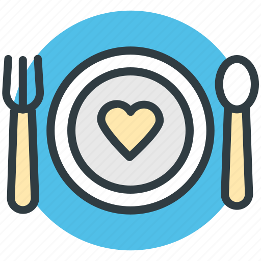 dining, fork, heart sign, plate, spoon icon